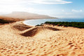 Sand dune of bolonia beach province cadiz andalucia spine two boats on at Royalty Free Stock Photo