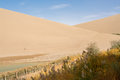 Sand dune in the desert, Dunhuang, China Royalty Free Stock Photo