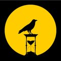 Sand Hourglass, the moon and crow - illustration Royalty Free Stock Photo