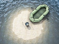 Sand island in the ocean with an empty boat top view conceptual image d rendering Royalty Free Stock Photography
