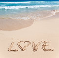 On sand at ocean edge it is written  LOVE Stock Photography