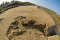 Sand ravine and railway career valley in fisheye view Royalty Free Stock Photo