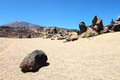Sand and rocks desert on teide volcano in canary islands spain Royalty Free Stock Photos
