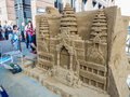 Sand sculpture of angkor wat done by lonely planet artists lond london england august on a london plaza Stock Photography