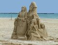 Sand sculpture mexican skeleton sculptures made of at the playa delcarmen in mexico Stock Photos