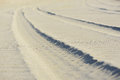 Sand trace of  wheels Royalty Free Stock Photo
