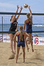 Sand volleyball challenge event spring break collegiate location queen s beach waikiki on the island of o ahu hawai i usa iii Royalty Free Stock Photo