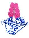 Sandály a dámské plavky