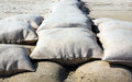Sandbags heavy on the beach Royalty Free Stock Photography
