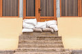 Sandbags house flood defense Royalty Free Stock Photo