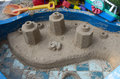Sandbox sand sculpture created in the small Stock Photo