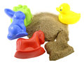 Sandbox toys colorful kids for with pile of sand isolated Stock Images
