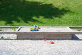 Sandbox with toys on top closeable Stock Photo