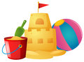 Sandcastle and beach ball Royalty Free Stock Photo