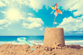 Sandcastle On Beach Royalty Free Stock Photo