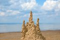 Sandcastle sand castle on the beach Royalty Free Stock Photo