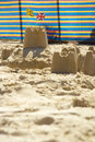 Sandcastles and windbreak Royalty Free Stock Images