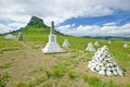 Sandlwana hill or sphinx with soldiers graves in foreground the scene of the anglo zulu battle site of january the grea great Royalty Free Stock Photos