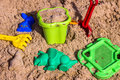 Sandpit for children with toys. Royalty Free Stock Photo