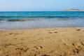 The sands at armier bay sand of a popular and picturesque beach in malta Royalty Free Stock Photography