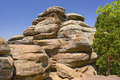 Sandstone bluffs on a sunny day in the garden of the gods in shawnee national forest Stock Photography