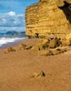 Sandstone at Burton Bradstock beach Dorset Royalty Free Stock Photos
