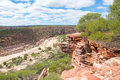 Sandstone cliff edges in kalbarri scenic landscape views of national park with layered red edge overlooking the dry riverbed of Royalty Free Stock Photography