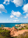Sandstone cliffs near Albufeira Royalty Free Stock Image