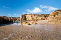 Sandstone cliffs near Albufeira Stock Image