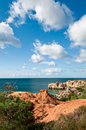 Sandstone cliffs near Albufeira Royalty Free Stock Images