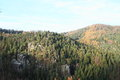 Sandstone cliffs in Oybin Royalty Free Stock Photo