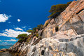Sandstone cliffs of Sithonia Stock Images