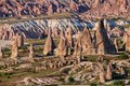 Sandstone formations in Cappadocia, Turkey. View of the valley near Goreme at sunset
