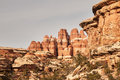 Sandstone formations with towers and cliffs in canyonlands national park in utah Royalty Free Stock Image