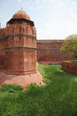 Sandstone walls of the red fort new delhi india in centre built by moghul shah jahan in Stock Images
