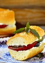 Sandwich with baked vegetables and cheese goat Stock Photo
