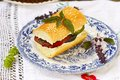 Sandwich with baked vegetables and cheese goat Royalty Free Stock Image