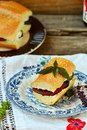 Sandwich with baked vegetables and cheese goat Stock Image