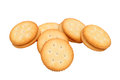 Sandwich biscuits with white cream on white background Stock Image