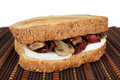 Sandwich bread with dried tomato mushrooms and mozzarella Stock Photo