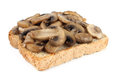 Sandwich bread toast with mushrooms on white background Royalty Free Stock Photos
