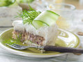 Sandwich cake slice of with tuna and cucumber selective focus Stock Photos