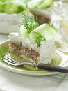Sandwich cake slice of with tuna and cucumber selective focus Royalty Free Stock Photos
