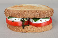 Sandwich caprese with alhabaca on a brown tablecloth Stock Images