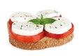 Sandwich caprese with alhabaca on white background Stock Photo