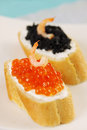 Sandwich with caviar and shrimp Royalty Free Stock Image