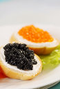 Sandwich with caviar, vertical Royalty Free Stock Photography
