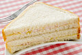 Sandwich closeup of an appetizing on a set table Royalty Free Stock Image
