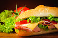 Sandwich closeup detail deli sub and ingredients Stock Photography