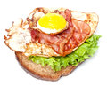 Sandwich with egg and bacon Stock Images